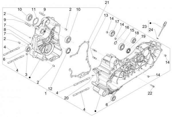 Motor Kurbelgehäuse - Piaggio MP 3 500ccm 4T LC 2015- ZAPM86100