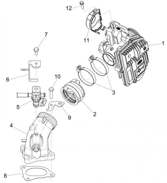 Motor Drosselklappengehäuse - Piaggio MP 3 500ccm 4T LC 2015- ZAPM86100