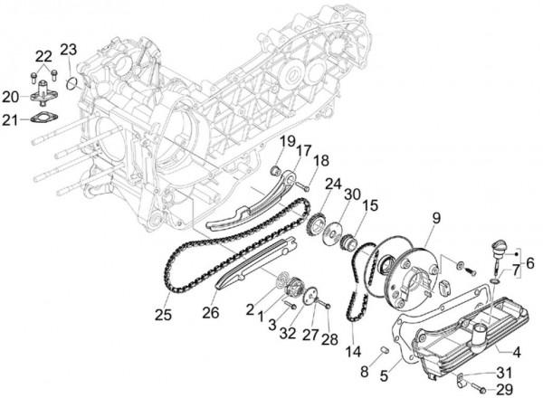 Motor Ölpumpe - Piaggio MP 3 250ccm 4T LC 2007- ZAPM47200