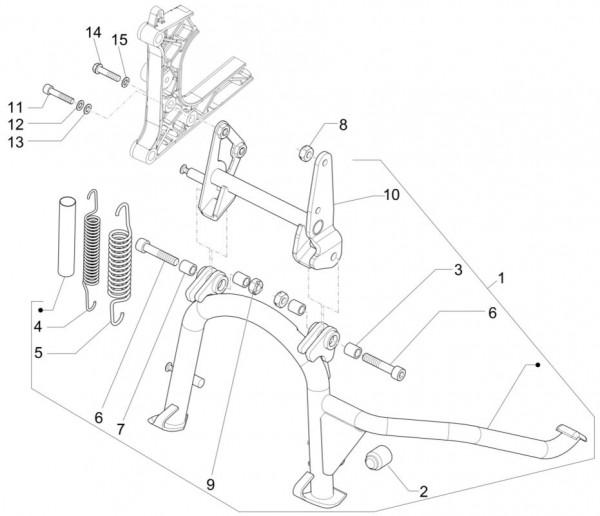 Fahrgestell Hauptständer - Piaggio MP 3 500ccm 4T LC 2015- ZAPM86100