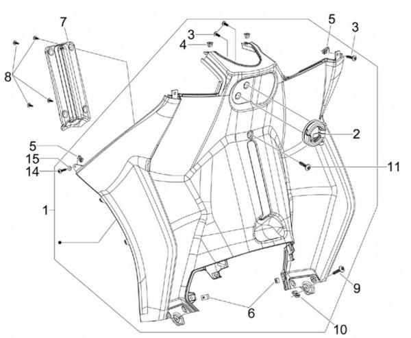 Fahrgestell Beinschild innen - Piaggio MP 3 250ccm 4T LC 2006- ZAPM47200