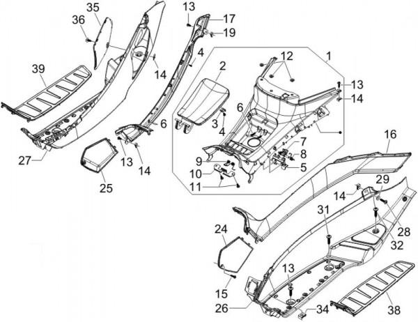 Fahrgestell Fußraumabdeckungen - Piaggio MP 3 250ccm 4T LC 2006- ZAPM47200