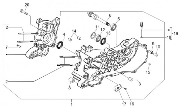 Motor Kurbelgehäuse - Vespa S 50ccm 4T 2V AC 2012- ZAPC38901