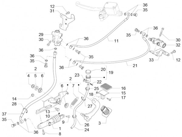 Bowdenzüge Fußbremspedal - Piaggio MP 3 500ccm 4T LC 2015- ZAPM86101