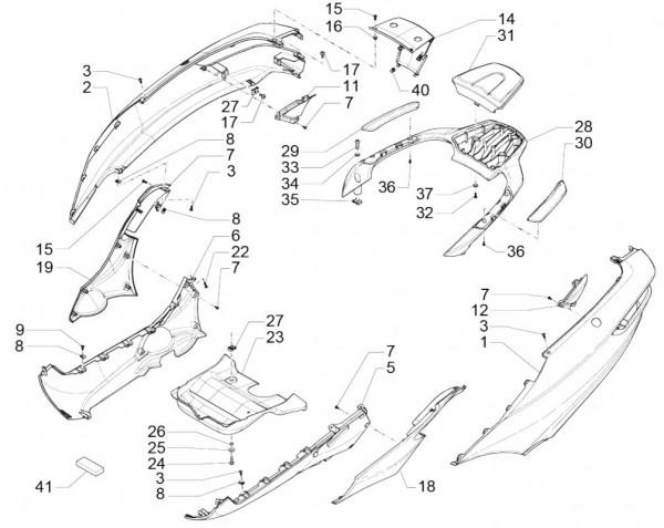 Fahrgestell Seitenverkleidungen - Piaggio MP 3 500ccm 4T LC 2015- ZAPM86101