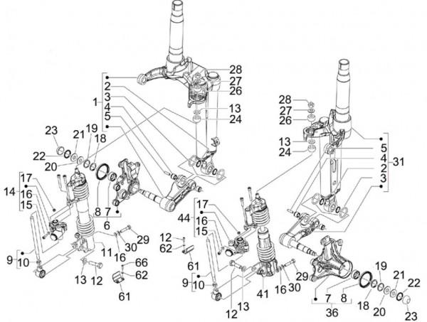 Radaufhängung Stoßdämpfer vorn - Piaggio MP 3 250ccm 4T LC 2007- ZAPM47200