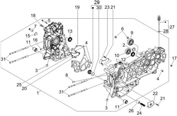 Motor Kurbelgehäuse - Piaggio MP 3 250ccm 4T LC 2008- ZAPM47200