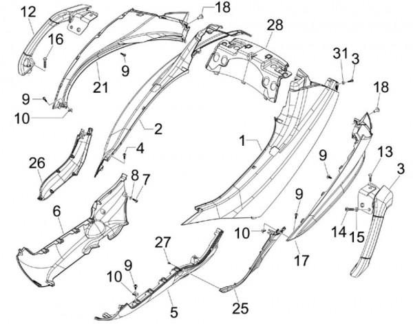 Fahrgestell Seitenverkleidungen - Piaggio MP 3 250ccm 4T LC 2006- ZAPM47200
