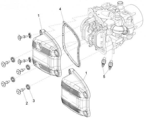 Motor Zylinderkopfabdeckungen - Piaggio MP 3 500ccm 4T LC 2015- ZAPM86101