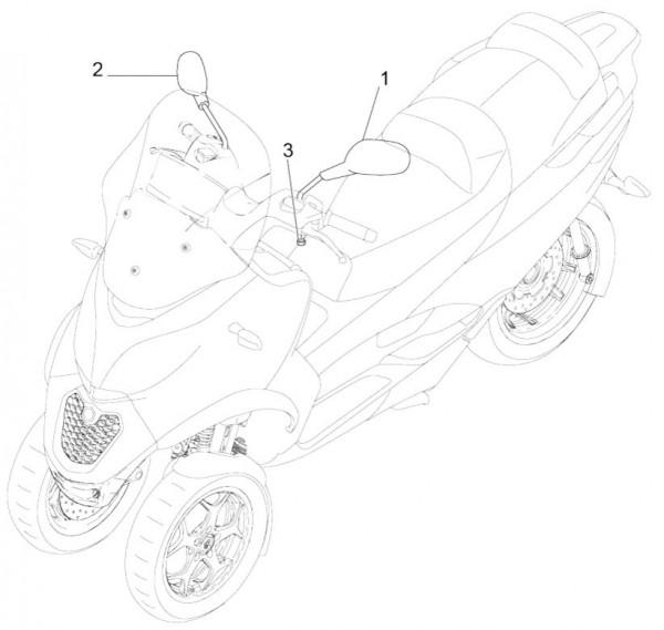 Lenker Rückspiegel - Piaggio MP 3 500ccm 4T LC 2015- ZAPM86100