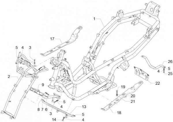 Fahrgestell Rahmen - Piaggio MP 3 500ccm 4T LC 2015- ZAPM86101