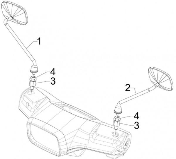 Lenker Rückspiegel - Vespa S 50ccm 4T 2V AC 2012- ZAPC38901