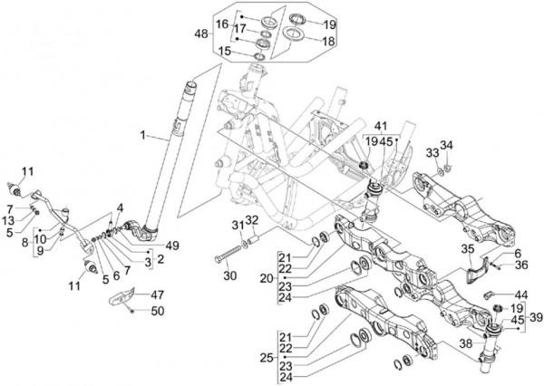 Radaufhängung Vorderradgabel - Piaggio MP 3 250ccm 4T LC 2007- ZAPM47200