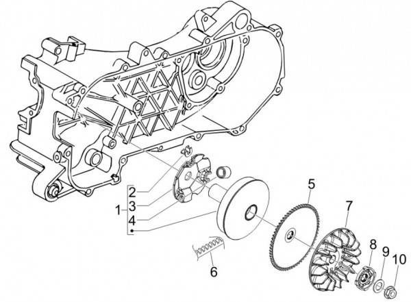 Motor treibende Riemenscheibe - Vespa S 50ccm 4T 2V AC 2012- ZAPC38901