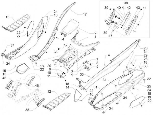 Fahrgestell Fußraumabdeckungen - Piaggio MP 3 500ccm 4T LC 2015- ZAPM86101