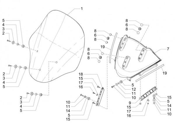 Fahrgestell Wetterschutzscheibe - Piaggio MP 3 500ccm 4T LC 2015- ZAPM86101