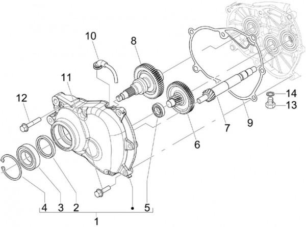 Motor Getriebe - Piaggio MP 3 250ccm 4T LC 2008- ZAPM47200