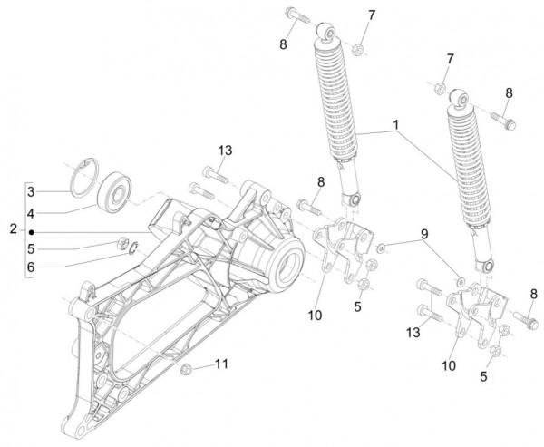 Radaufhängung Stoßdämpfer hinten - Piaggio MP 3 500ccm 4T LC 2015- ZAPM86101