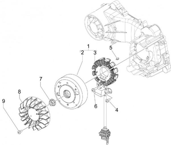 Motor Lichtmaschine - Vespa S 50ccm 4T 2V AC 2012- ZAPC38901