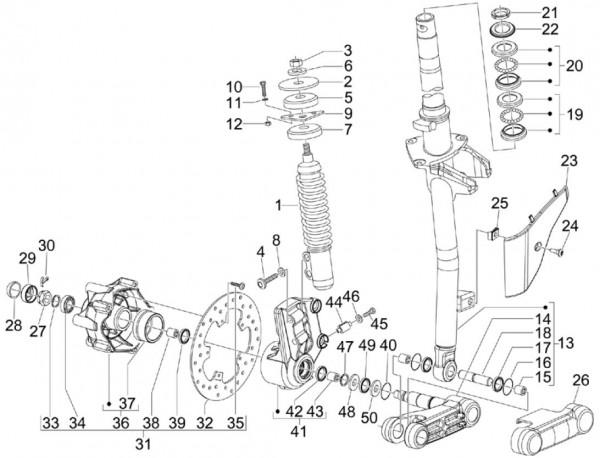 Radaufhängung Vorderradgabel - Vespa S 50ccm 4T 2V AC 2012- ZAPC38901