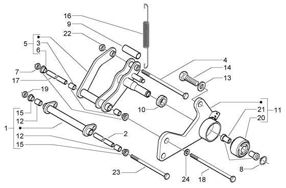 Radaufhängung Schwingarm - Vespa GT 125ccm 4T LC 2003- ZAPM3110000001001