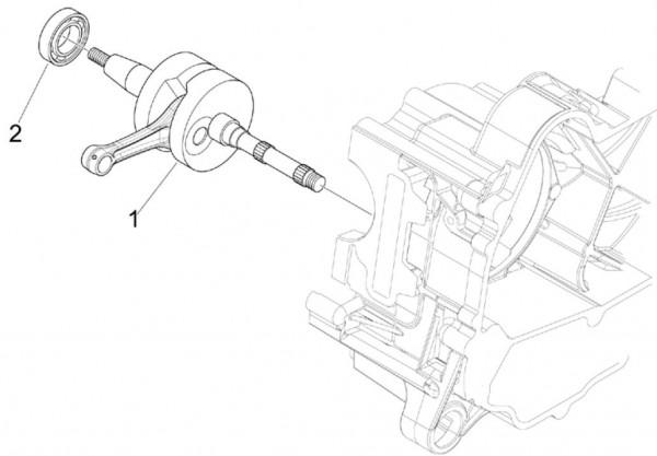 Motor Kurbelwelle - Vespa S 50ccm 4T 2V AC 2012- ZAPC38901