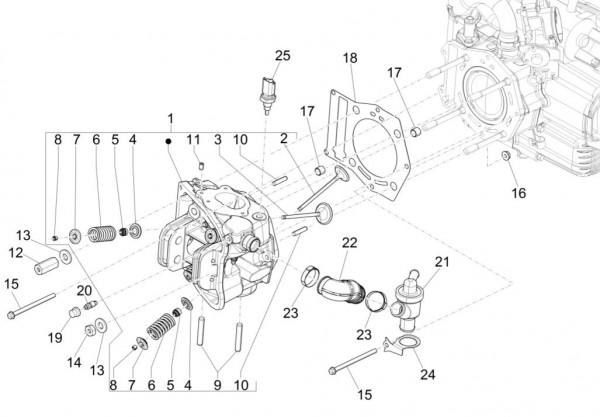 Motor Zylinderkopf - Piaggio MP 3 500ccm 4T LC 2015- ZAPM86101