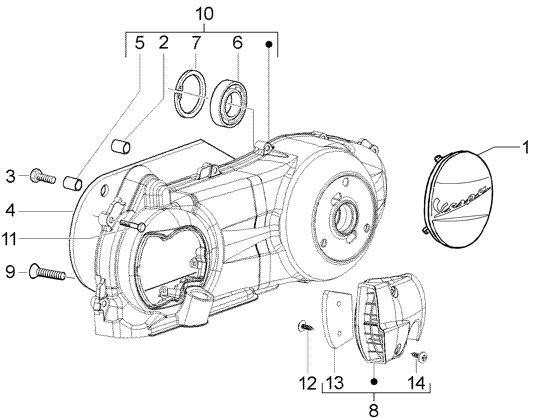 Motor Gehäusedeckel - Vespa GT 125ccm 4T LC 2003- ZAPM3110000001001