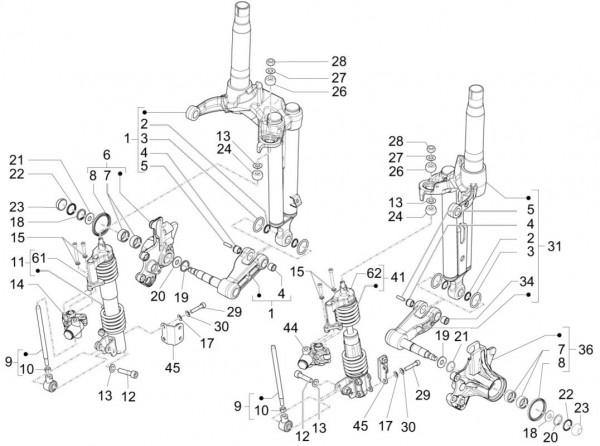 Radaufhängung Stoßdämpfer vorn - Piaggio MP 3 500ccm 4T LC 2015- ZAPM86100