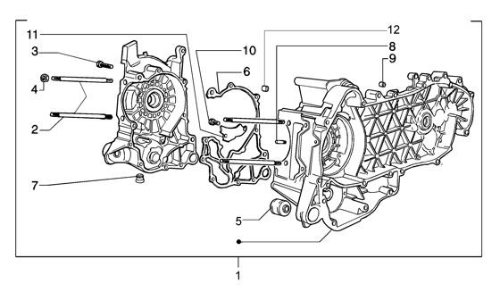 Motor Kurbelgehäuse - Vespa GT 125ccm 4T LC 2003- ZAPM3110000001001