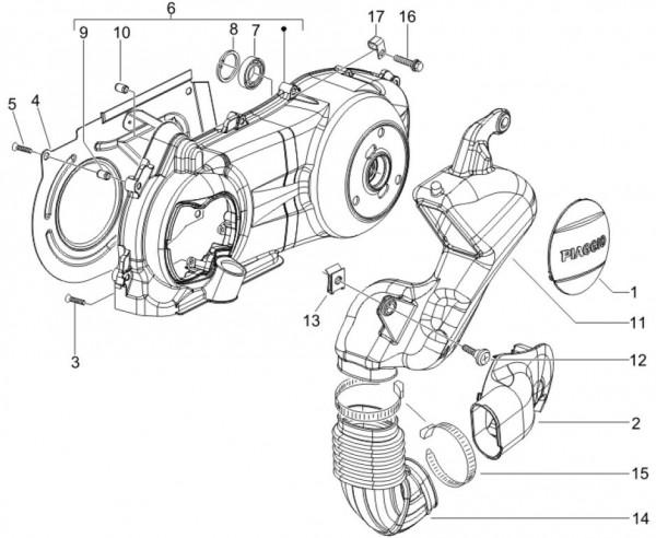 Motor Gehäusedeckel - Piaggio MP 3 250ccm 4T LC 2007- ZAPM47200