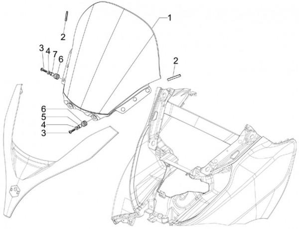 Fahrgestell Wetterschutzscheibe - Piaggio MP 3 250ccm 4T LC 2006- ZAPM47200