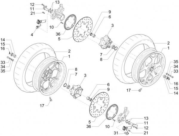 Radaufhängung Vorderrad - Piaggio MP 3 500ccm 4T LC 2015- ZAPM86100
