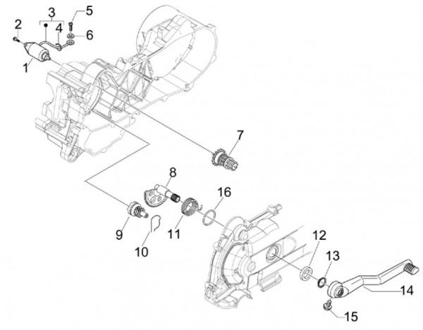 Motor Anlasser - Vespa S 50ccm 4T 2V AC 2012- ZAPC38901