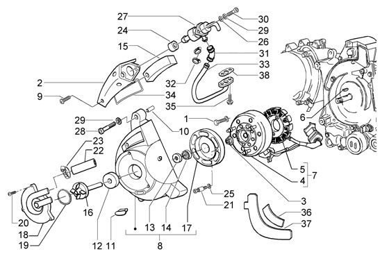 Motor Lichtmaschine - Vespa GT 125ccm 4T LC 2003- ZAPM3110000001001