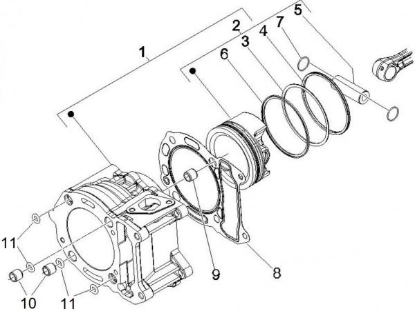 Motor Zylinder - Piaggio MP 3 250ccm 4T LC 2008- ZAPM47200
