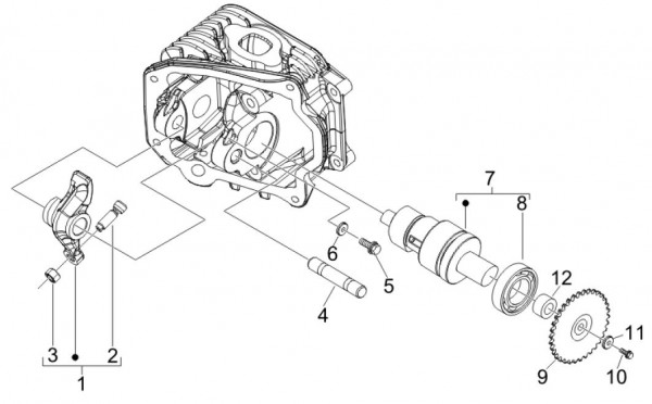 Motor Schwinghebelhalterung - Vespa S 50ccm 4T 2V AC 2012- ZAPC38901