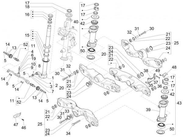 Radaufhängung Vorderradgabel - Piaggio MP 3 500ccm 4T LC 2015- ZAPM86100