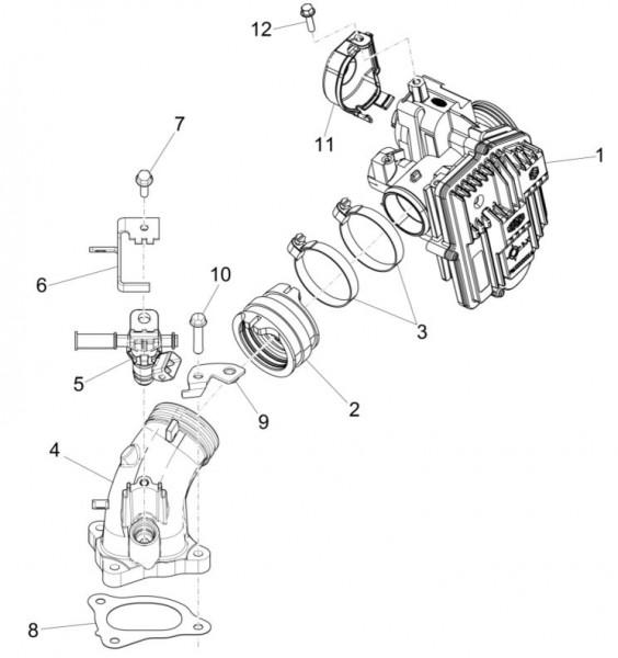 Motor Drosselklappengehäuse - Piaggio MP 3 500ccm 4T LC 2015- ZAPM86101