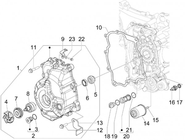 Motor Ölfilter - Piaggio MP 3 250ccm 4T LC 2008- ZAPM47200