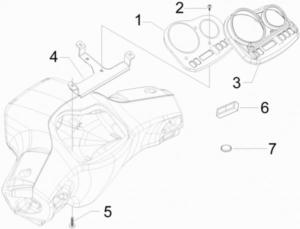 Lenker Cockpitinstrumente - Vespa S 50ccm 4T 2V AC 2012- ZAPC38901