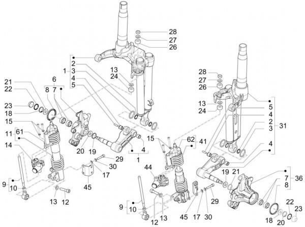 Radaufhängung Stoßdämpfer vorn - Piaggio MP 3 500ccm 4T LC 2015- ZAPM86101