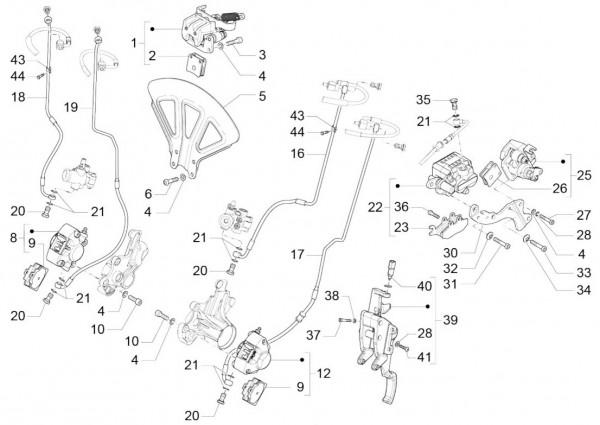 Bowdenzüge Bremsanlage - Piaggio MP 3 500ccm 4T LC 2015- ZAPM86100
